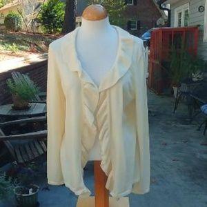 Talbots Open Ruffled Cardigan Sweater Size XL